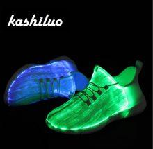 fa12bcc59faa35 Kashiluo EU  25-46 Led Schuhe USB aufladbare glowing Turnschuhe Fiber Optic  Weiße schuhe für mädchen jungen männer frauen party .