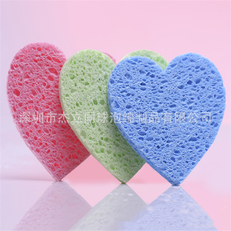 500pcs  Heart Makeup Sponge Pink Wood Pulp Cotton Absorbent Water Run Clean Surface Flutter