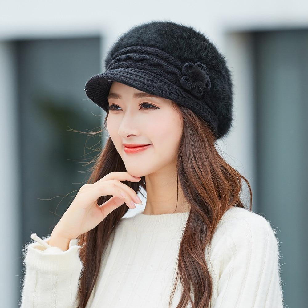 Women Ladies Winter Warm Beret Baggy Ski Chic Crochet Knit brim Beanie Hats Cap