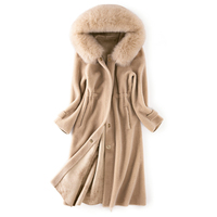 2019 Brand New Arrival Winter Vintage Must Have Coat Natural Lamb Sheep Fur Overcoat hood Design and Real Fox Fur Collar ksr390