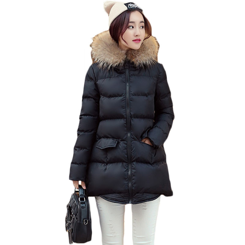 2017 Autumn Winter Jackets Women Parkas Coat Fashion Female Personality Hem Thick Jacket With a Hood Large Faux Fur Collar XH729