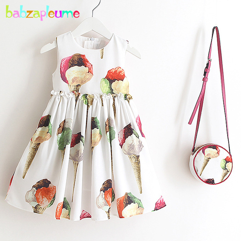 2PCS/2-6Years/Summer Style Korean Kids Costume Children Dress Cute Baby Girls Princess Dresses+Bags Infant Clothing Sets BC1585 fashion kids baby girl dress clothes grey sweater top with dresses costume cotton children clothing girls set 2 pcs 2 7 years