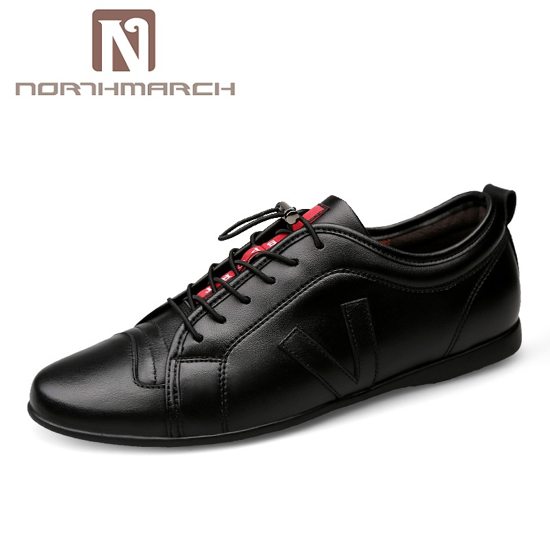 NORTHMARCH Men Casual Shoes Spring Lace Up Genuine Leather Men Shoes Fashion Breathable Sneakers Large Size 38-48 Heren Schoenen chilenxas autumn winter large size 35 45 leather men casual shoes lace up breathable lovers height increasing fashion waterproof