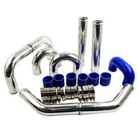 3 INCH 76mm UNIVERSAL ALUMINUM INTERCOOLER TURBO PIPE PIPING BLUE HOSE KIT