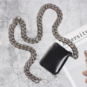 Image 4 - [EAM] 2020 New Spring Summer Pu Leather Mini bag Chain Split Joint Personality Women Long Accessories Fashion All match JU458