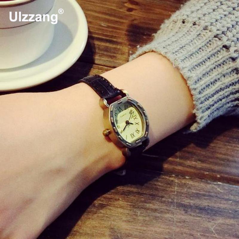 2017 Hot Sale Vintage Rome Dial Alloy Black Brown Blue Genuine Leather Small Wristwatches Watches for Women Ladies Girls fashion leather watches for women analog watches elegant casual major wristwatch clock small dial mini hot sale wholesale