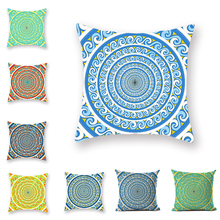 Vintage Ethnic Geometric Pattern Cushion Cover Bohemian Indian Yellow Green Square Throw Pillowcase Home Sofa Decoration