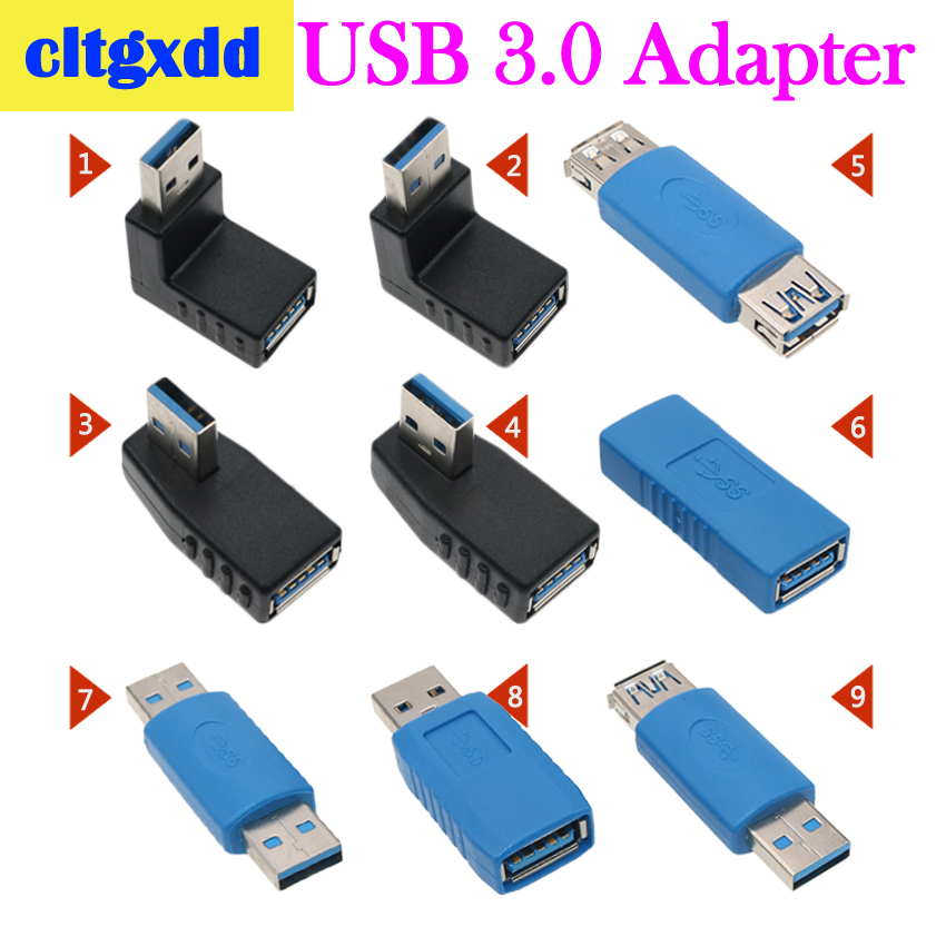 Cltgxdd Right Angle USB3.0 AM To AF L Shape Adapter Converter USB 3.0 A Male To A Female 90/180 Degree Plug Down Connector