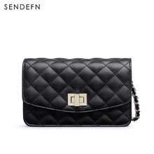 SENDEFN Luxury Ladies Casual Crossbody Bags Leather Small Diamond Lattice Shoulder Bag Women Cellphone Bag High Quality 7233-6(China)