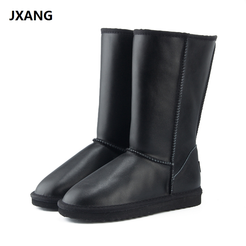 JXANG 2018 NEW Women Shoes Winter Boots Genuine Cowhide Leather waterproof fashion casual woman snow boots