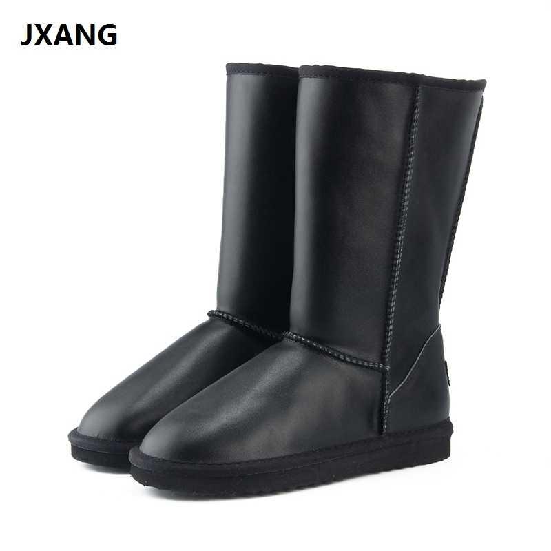 "JXANG 2018 חדש נשים נעלי חורף מגפי אמיתי עור פרה עור עמיד למים אופנה מזדמן אישה שלג מגפי 6 צבע ארה""ב 3 -13"