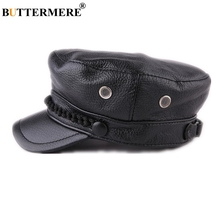 BUTTERMERE Women Men Genuine Leather Black Military Hat Vintage Baker Boy Flat Sailor Autumn Winter Brand Army Cap