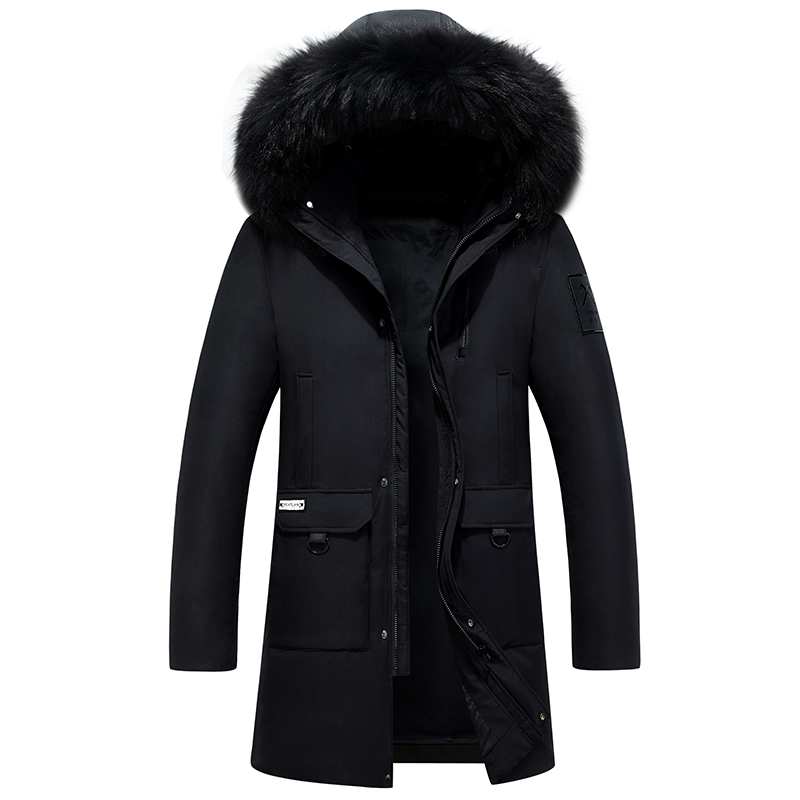 2019 New   Down     Coat   Men Winter Thicken Long   Down   Jacket Men Parka Real Fur 80% White Duck   Down   Plus Size 4XL Erkek Mont Kaban