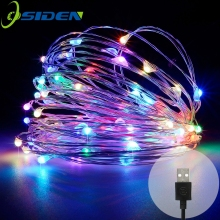 sträng ledd lampor 10M 33ft 100led 5V USB-driven utomhus Varm vit / RGB koppartråd julfestival bröllopsfest dekoration