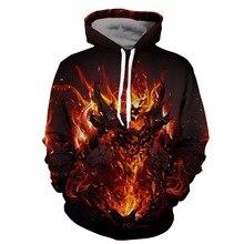 YOUTHUP пламя зверя мужчины с капюшоном толстовки с длинным рукавом мужские Весна пуловер 3D толстовки в уличном стиле Дизайн хип-хоп толстовка размер 5XL