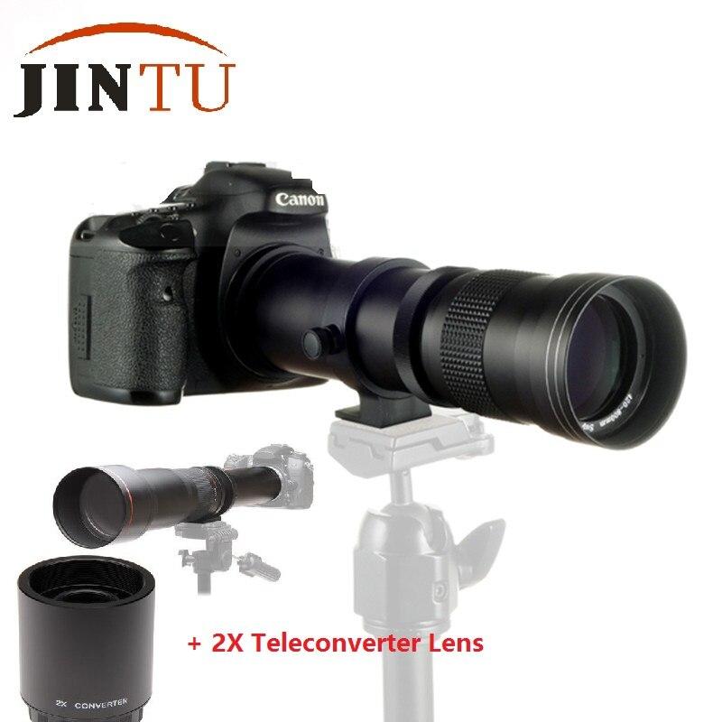 JINTU 420-1600mm f/8.3 HD Téléobjectif + 2X Téléconvertisseur pour Canon 750D 650D 600D 550D 500D 60D 80D 450D 1000D