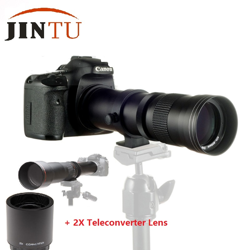 JINTU 420-1600mm f/8.3 HD Telephoto Zoom Lens + 2X Teleconverter LENS For for Canon 750D 650D 600D 550D 500D 60D 80D 450D 1000D godox rc c1 wired shutter cable for canon 60d 550d 1000d 500d 450d 600d k 7 k20d black