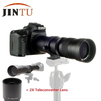 JINTU 420-1600mm f/8.3 HD Telephoto Zoom Lens + 2X Teleconverter LENS For for Canon 750D 650D 550D 800D 60D 80D 90D 450D 1300D