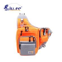 iLure Multifunzione impermeabile 32*39*12 cm pesca spalla borsa di tela carp fishing reel lure tackle bag verde/arancio/nero