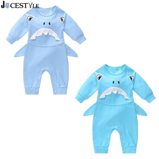 89ea7346bede Newborn Baby Romper Infant Jumpsuit Winter Warm Cute Shark Pattern Rompers  Infant Cartoon Cotton Long Sleeve Rompers Clothes