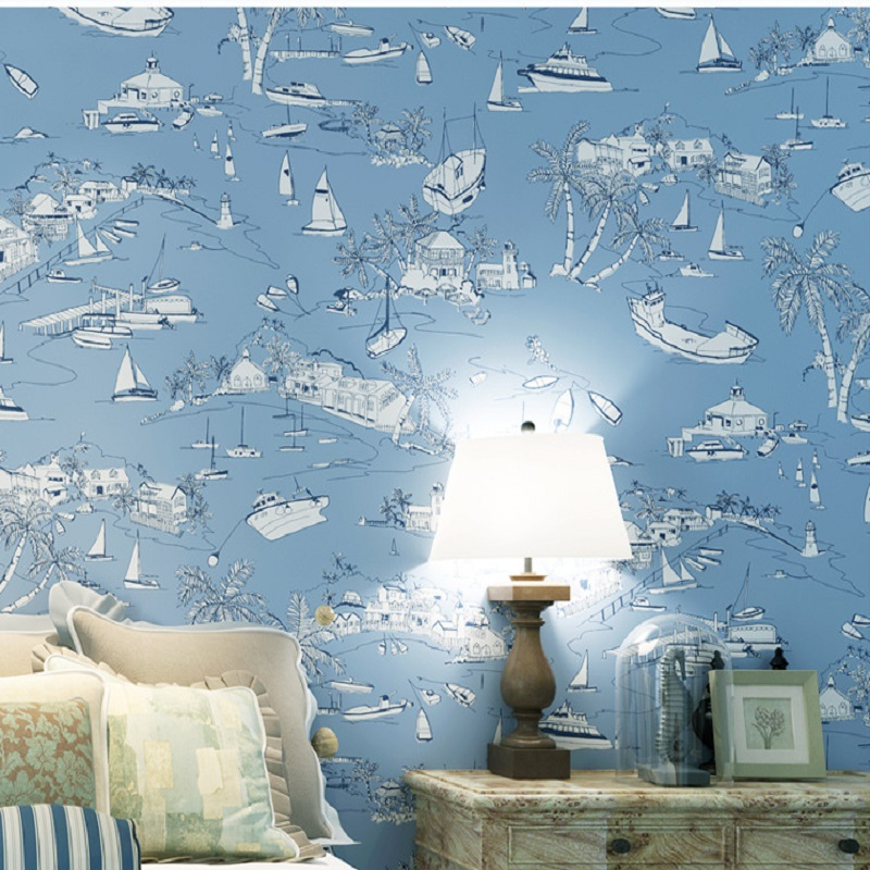 10 Meter Mural Wallpaper Modern Blue Sea Wallpapers Ocean Ship 3D Roll Wallpaper decor for Kids Boys Room papel de parede tapete commercial sea inflatable blue water slide with pool and arch for kids