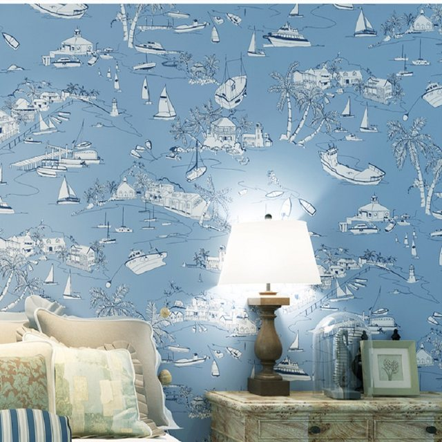 Online Shop 10 Meter Mural Wallpaper Modern Blue Sea Wallpapers