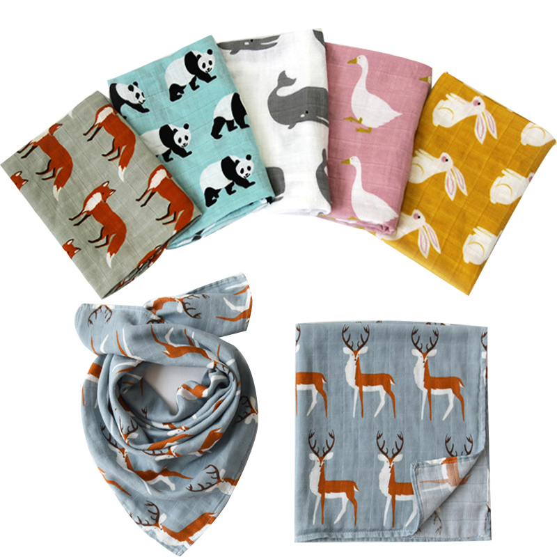 Hot Sale Baby Blankets Newborn Soft Organic Cotton Baby Bibs Muslin Swaddle Wrap Feeding Burp Cloth Towel Scarf Baby Stuff