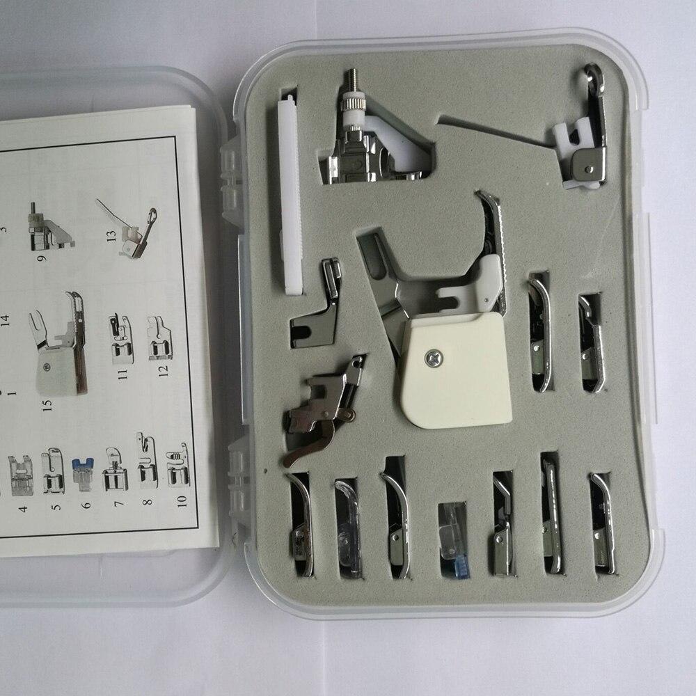 Universale 15 PZ Macchine Da Cucire Piedino Piede Piedi Kit Set per Brother Janome Singer Ago Macchine Da Cucire Piedino Manuale