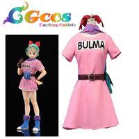Free Shipping Cosplay Costume Dragon Ball Bulma Dress Uniform New In Stock Halloween Christmas Party Uniform