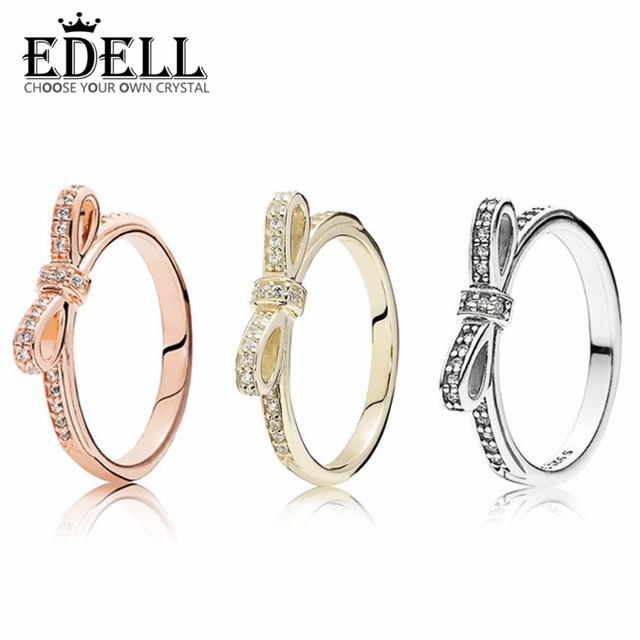 bb7dd2695 EDELL Luxurious 100% 925 Sterling Silver Bow tie Exquisite love ring  Wedding For Luxury Women Charm beads pendant Gift Jewelry