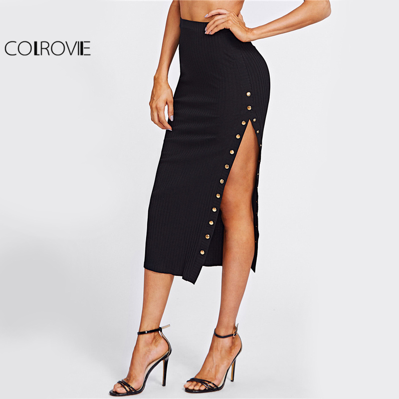 COLROVIE Studs High Slit Sexy Pencil Skirt Women Black Elegant Empire Slim OL Midi Skirts Autumn Fashion Work Long Skirt