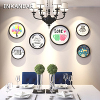 European Round Painting Photo Frame Set Love Modern Home Decor Wood Wall Decoration Family Picture Frame Wall