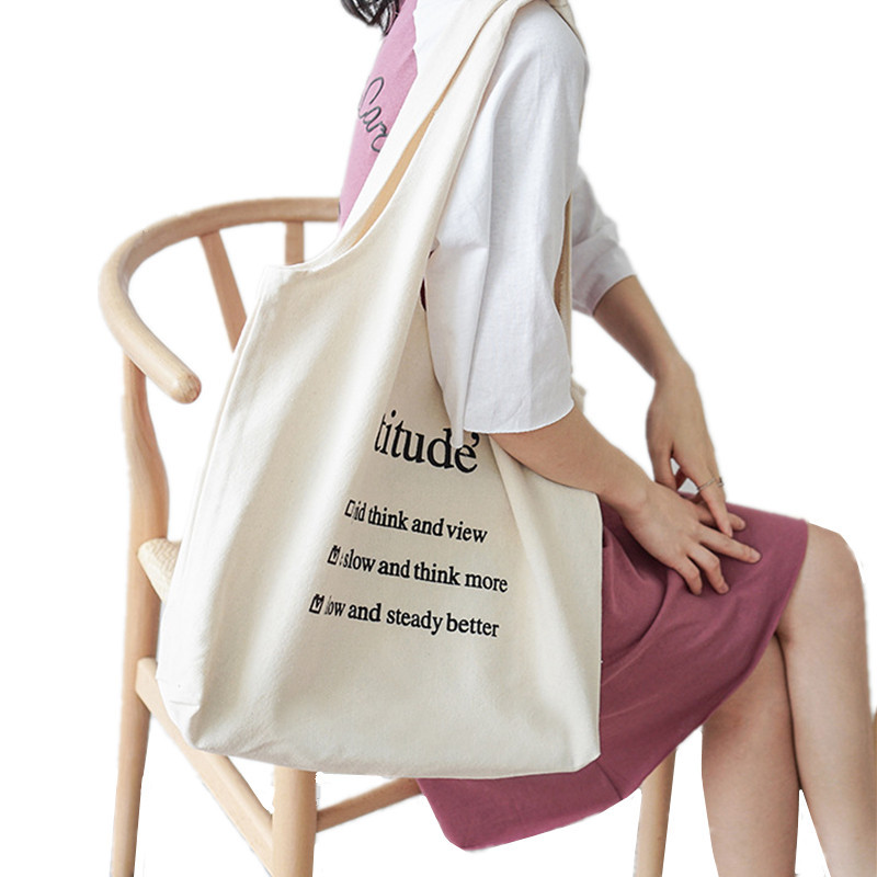 Foldable Canvas Letters Shopping Bag Women Casual Folding Reusable Shoulder  Tote Eco Green Grocery Pouch Student 3e78ba36bce65