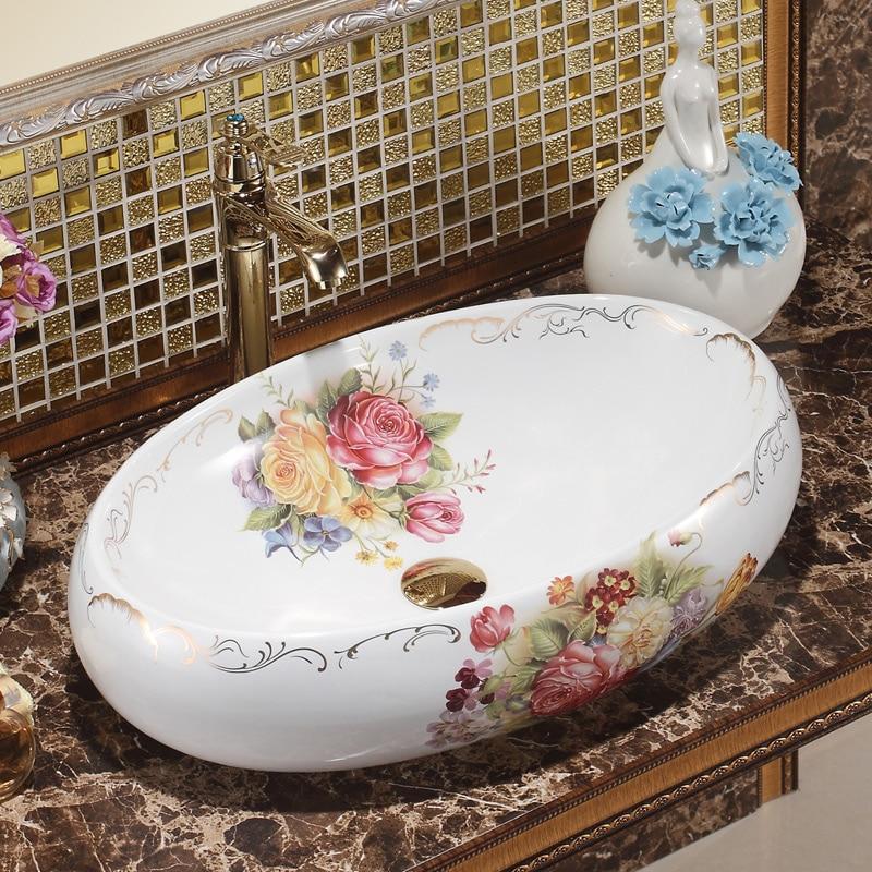 Oval Jingdezhen Bathroom Ceramic Sink Wash Basin Counter Top Wash Basin  Bathroom Sinks Round Sink Bowl