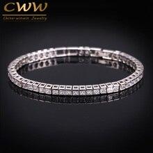 CWWZircons Brand Square 3mm Cubic Zirconia Tennis Bracelets For Woman White Gold Color Princess Cut CZ
