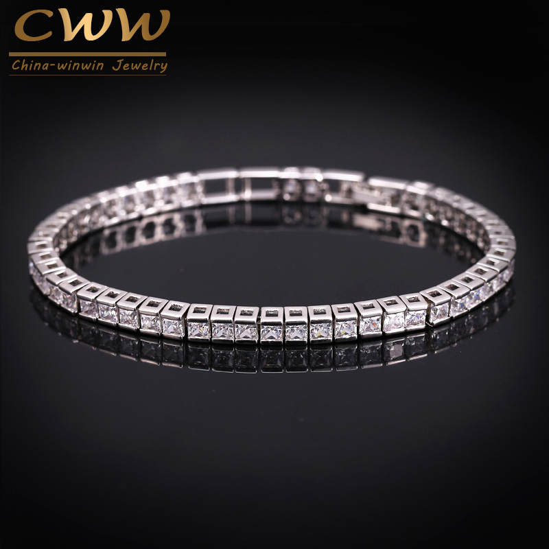 Elegant Square 3mm CZ Simulated Diamond Tennis Bracelets For Woman White Gold Plated Princess Cut CZ