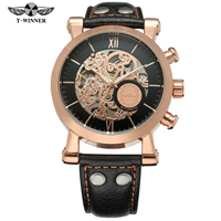 WINNER Mens Watches Automatic Watch Golden Case Leather Strap Male Clock Black Mechanical Watch Relogio Masculino