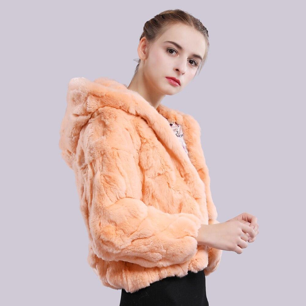 Image 4 - 2019 New Style Winter Genuine Real Rex Fur Jacket Women Fashion Brand Rex Rabbit Fur Coat Natural Rex Rabbit Fur Hooded Overcoat-in Real Fur from Women's Clothing
