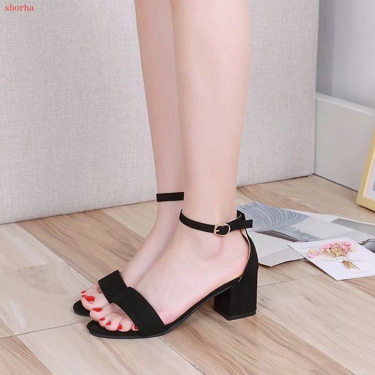 New Female Sandals Buckle Shoes For Women High Heels  Summer Shoes New Womens Elastic Fabric Women Sandals