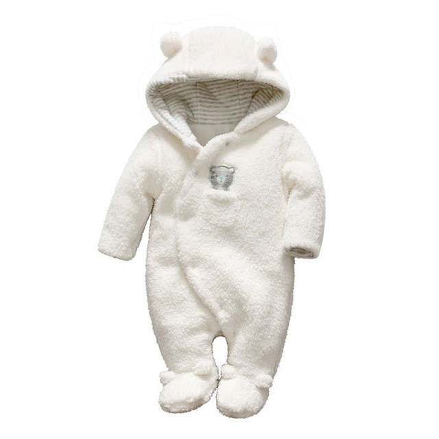 663bad2f2c4 Online Shop Vlinder Newborn baby clothes bear baby girl rompers hooded  plush jumpsuit winter overalls for kids roupa menina baby boy rompers