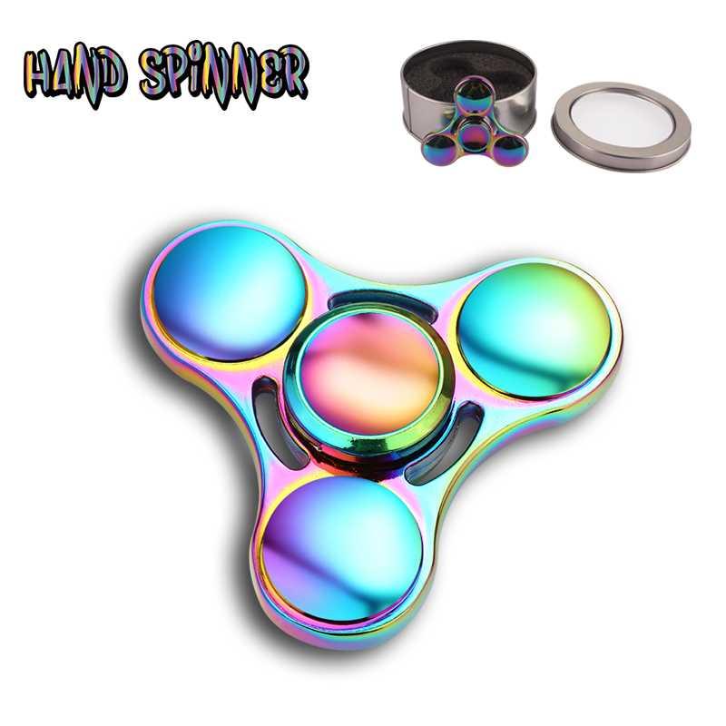 Rulman Titanyum Alaşım stres üst parmak el fidget spinners Yüksek Hızlı metal anti stres tri-spinner oyuncaklar beyblade alüminyum