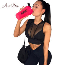 ArtSu Schwarz Crop Tops für Frauen Tank Tops Sommer Mesh Fitness Sexy Top Leibchen Donut Sleeveless Tank ASVE50025(China)