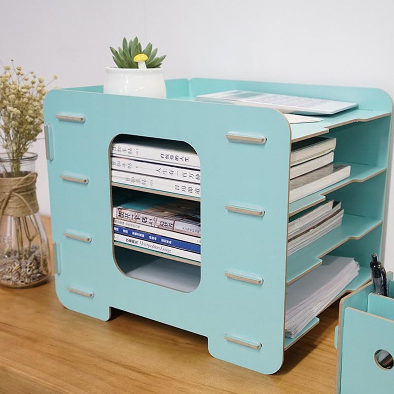 Coloffice Wooden desktop file storage blue bookend 4-storey office data file bookends creative bookshelf office school orangzier цена