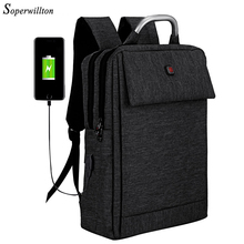 Soperwillton 2019 Brand Laptop Backpack Men Backpack USB Cha