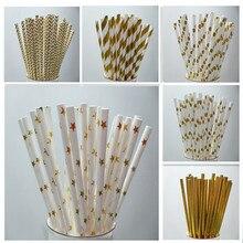 25pcs Drinking Paper Straws Metallic Gold heart star Foil Stripe Birthday Party Festive Supplies Decoration