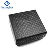 Черный подарочный футляр для украшений коробка упаковка для хранения кулон ожерелье, серьги-пуссеты