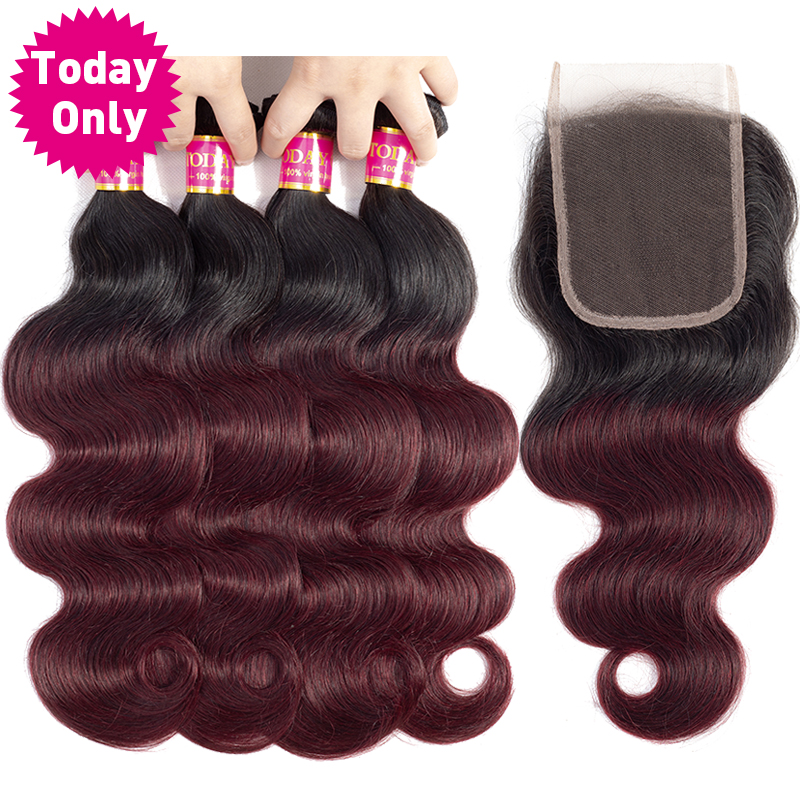 TODAY ONLY Burgundy 4 Bundles With Closure Brazilian Body Wave With Closure Ombre Brazilian Hair Weave Bundles With Closure Remy