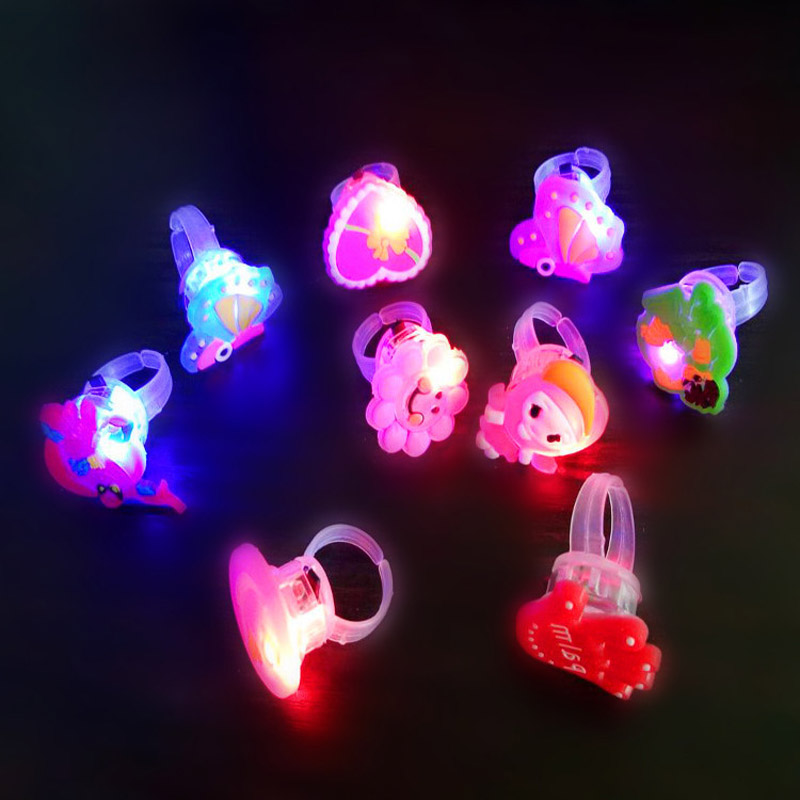 5pcs Glowing Flash Rings Child Luminous Toys For Kids Cartoon Led Finger Light Flashing Toys Baby Girl Birthday Gift