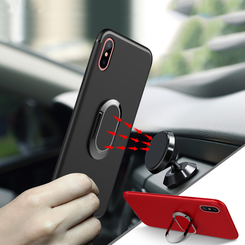 Ring Holder Case For iPhone 8 Plus X 7 6 6S Plus Cases Magnetic Suction Phone Case With Stand Soft TPU Protection Cover For S8