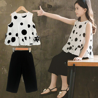 2019 Summer Kids Fashion Girls Clothing Sets 2 pcs White Dot Blouse Top & Black Solid Pants Set for 2 8 Years Girls Clothes Set